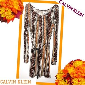 CALVIN KLEIN NWT Belted Tribal Style Dress